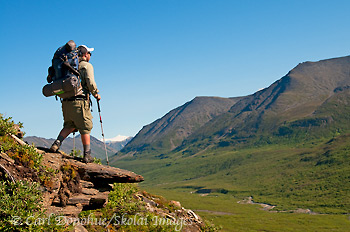 A hiker takes in the view in the Chugach Mountains, Iceberg Lake to Bremner Mines or Seven Pass route, Wrangell - St. Elias National Park and Preserve, Alaska.