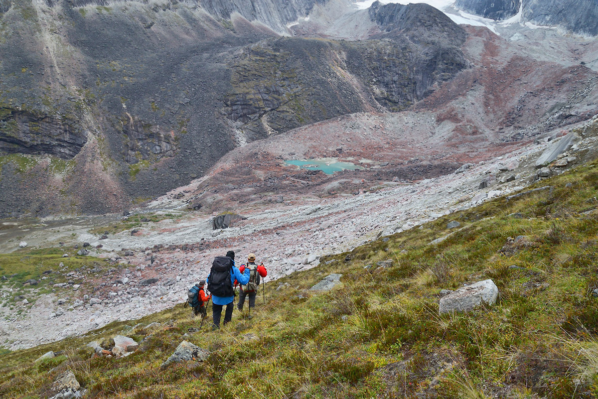 Arrigetch Peaks backpacking trip A steep descent of the Arrigetch Peaks, Gates of the Arctic National Park.