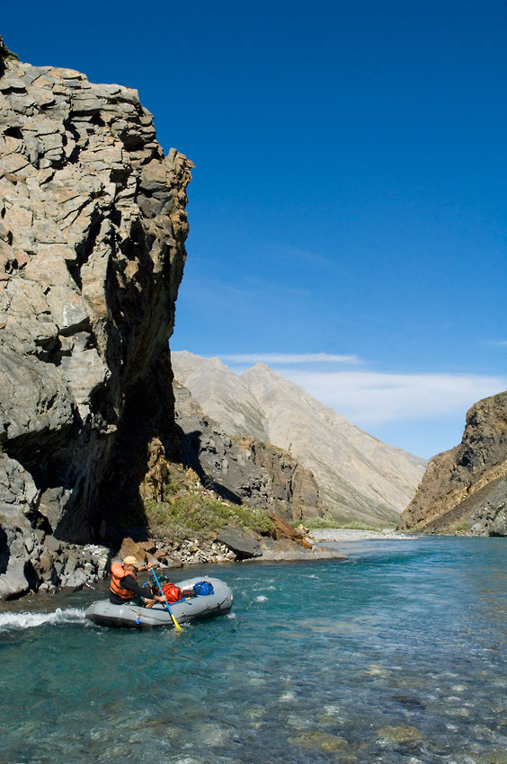 Rafting the canyon, Marsh Fork River, Canning River rafting trip, Arctic National Wildlife Refuge, ANWR, Alaska.