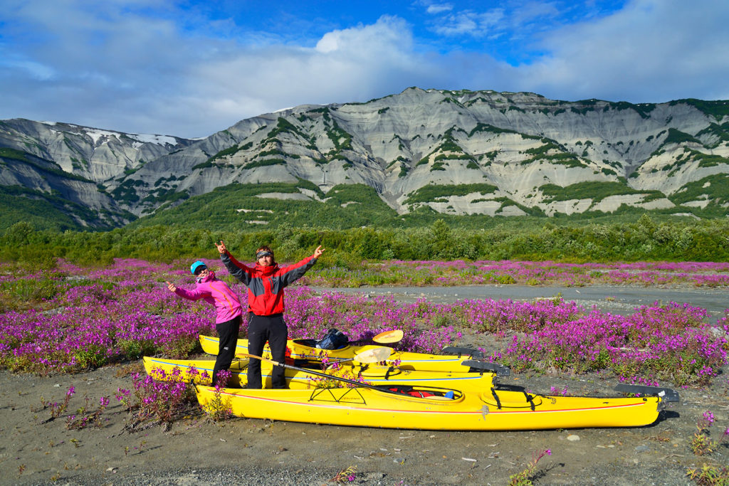 Guided Sea kayaking trip in Icy Bay, Wrangell - St. Elias National Park, Alaska.