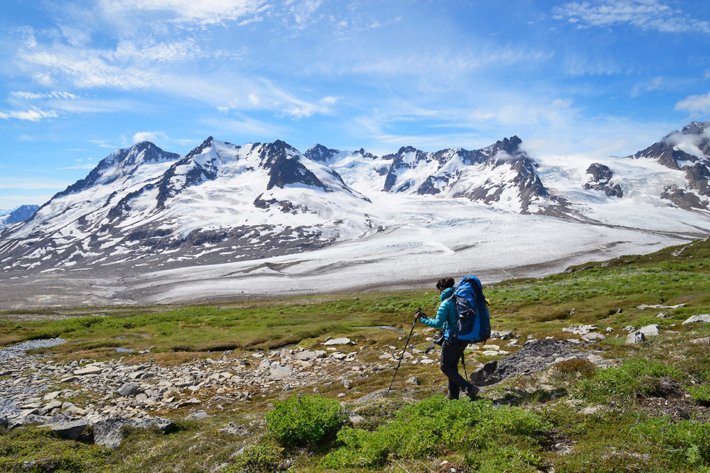 Hiking down the mountain on the Seven Pass backpacking trip Wrangell - St. Elias National Park, Alaska.