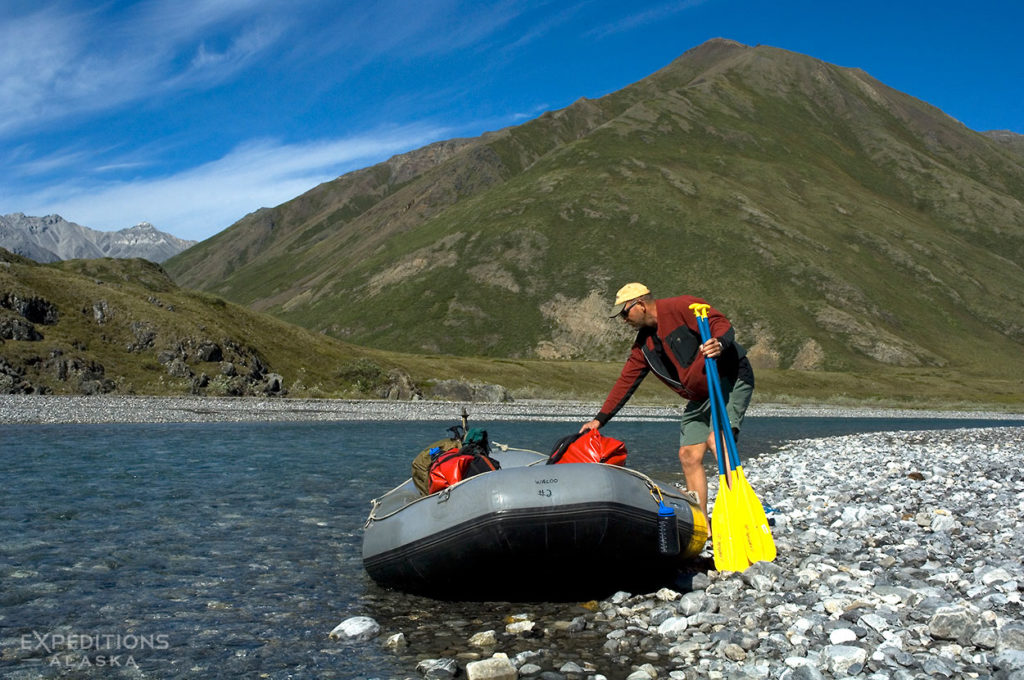 Packing for a guided rafting trip in ANWR Alaska.