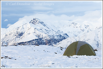 Mountain Hardwear Skyledge 2 backpacking tent in snow.