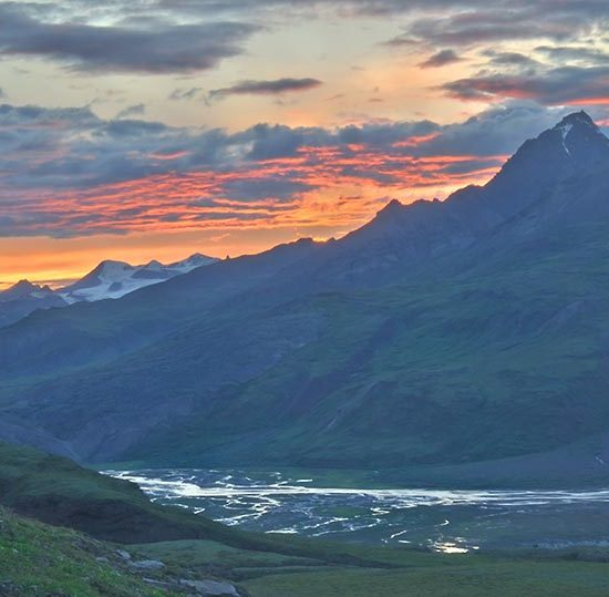 Sunset over Skolai Pass Wrangell - St. Elias National Park Alaska.