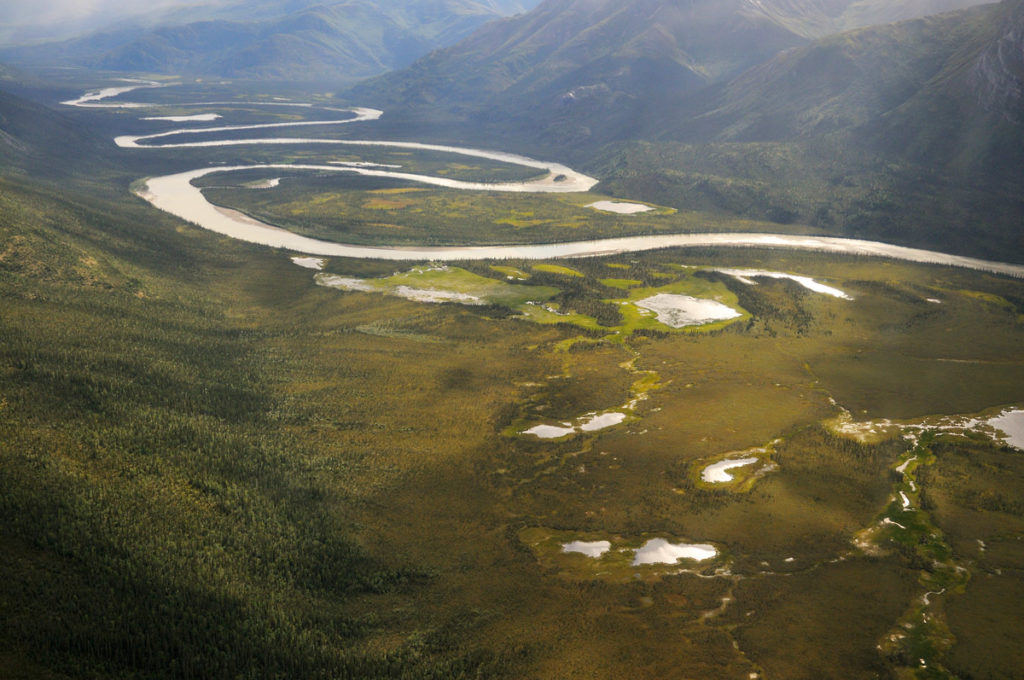 Arrigetch Peaks backpacking trip Aerial view of the Alatna River, Arrigetch Peaks trip, Gates of the Arctic National Park.