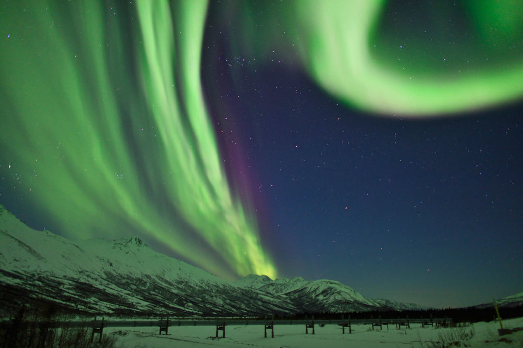 Aurora borealis and the Alaska pipeline.