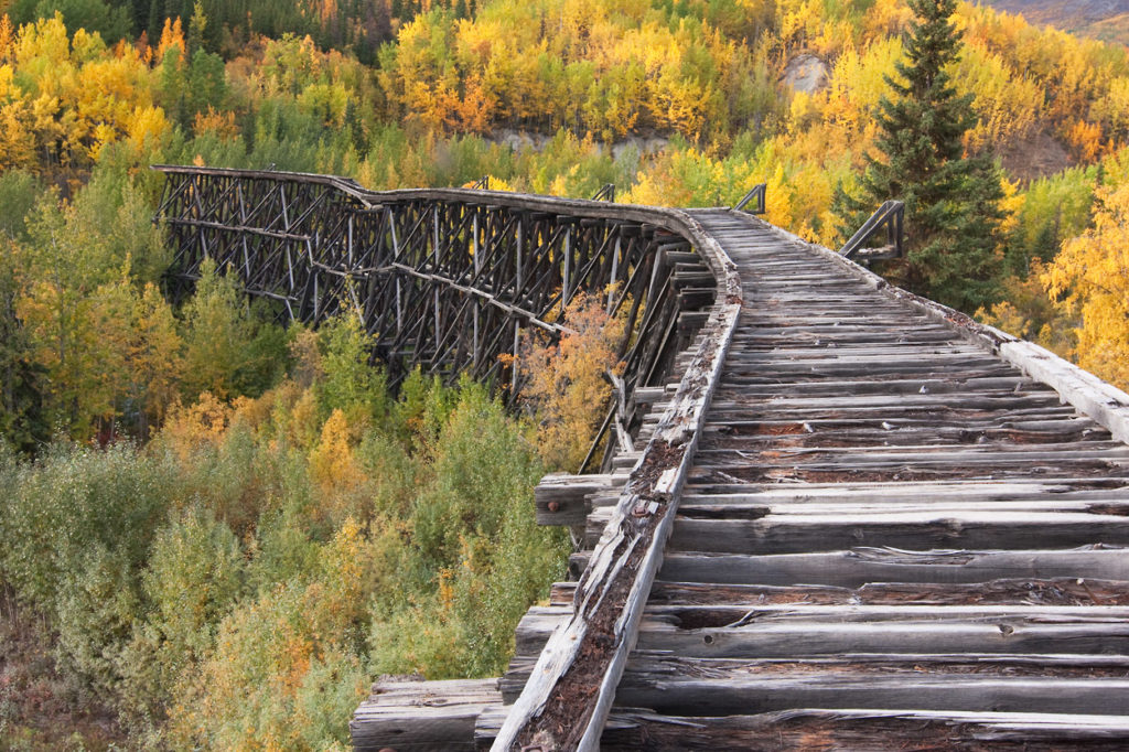 Wrangell - St. Elias National Park hiking trip photo Gilahina Trestle fall colors.