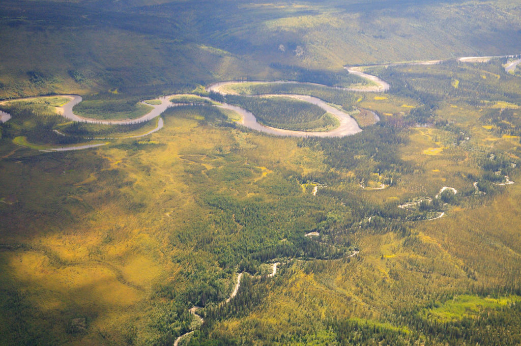 Gates of the Arctic National Park backpacking trips Aerial photo of Alatna River, Gates of the Arctic National Park, Alaska.