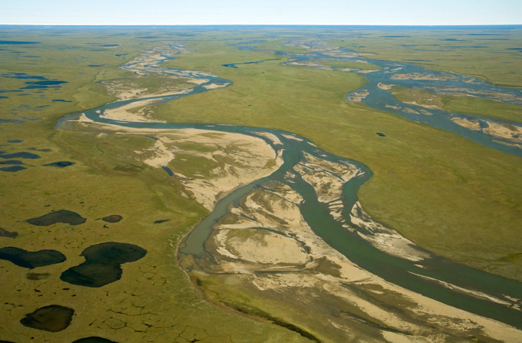 Aerial photo of the Coastal Plain of Arctic National Wildlife Refuge photos, ANWR, Alaska.