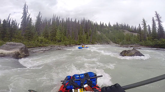 Packrafting Lakina River, Wrangell - St. Elias National Park, Alaska.