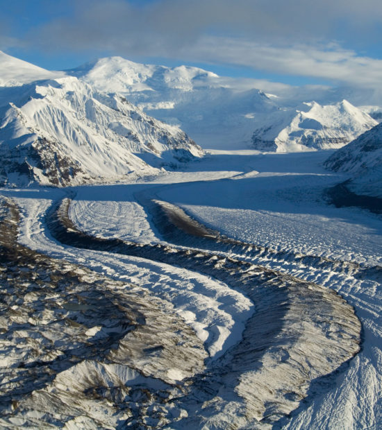 Aerial photography tour in Wrangell - St. Elias National Park, Alaska.