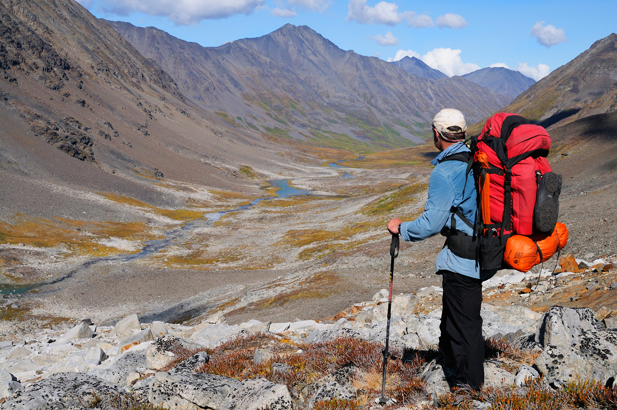 Alaska backpacking trips Seven Pass Backpacking trip, hiker in Chugach Mountains, Wrangell - St. Elias National Park, Alaska.