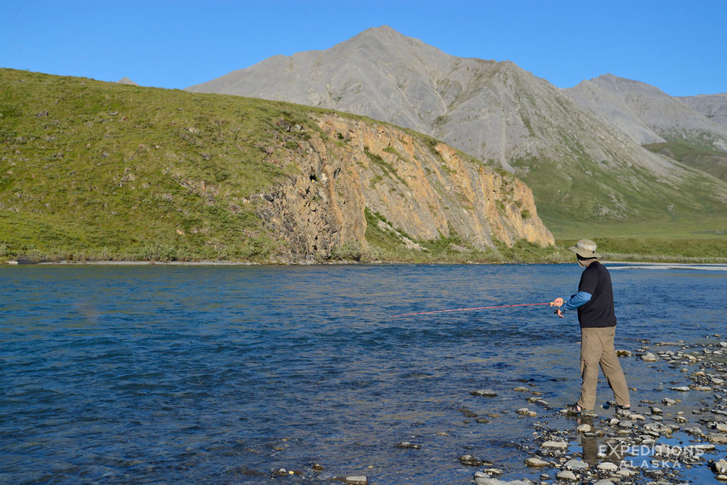 Alaska rafting trip Fishing Marsh Fork River, ANWR Alaska.
