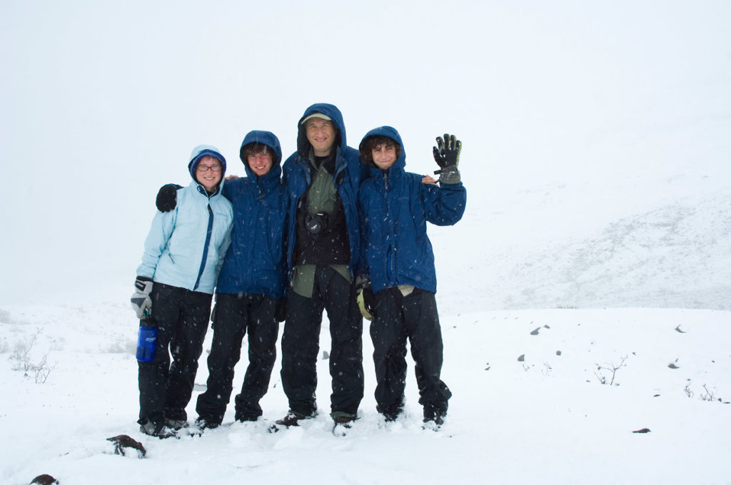 Hiking in heavy snow, Goat Trail trip, Wrangell - St. Elias National Park, Alaska.