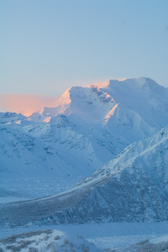 Winter photo in Wrangell - St. Elias National Park of Mt. Blackburn, Alaska.