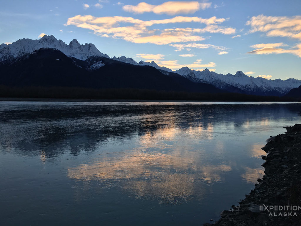 Mountain Range outside Haines Alaska and Chilkat River.