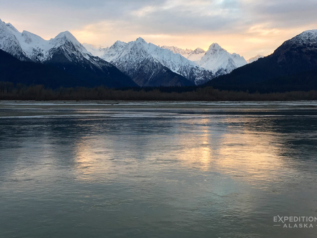 Chilkat Mountains and Chilkat River near Haines, Alaska.
