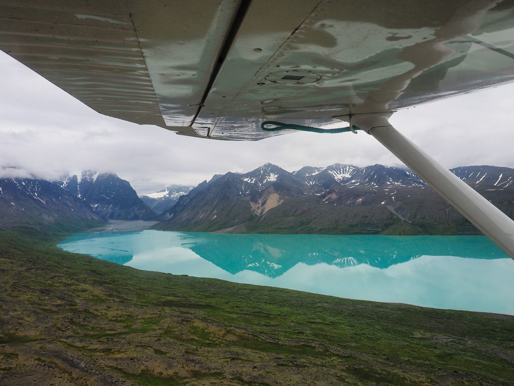 Flying in to our backpacking trip in Lake Clark National Park